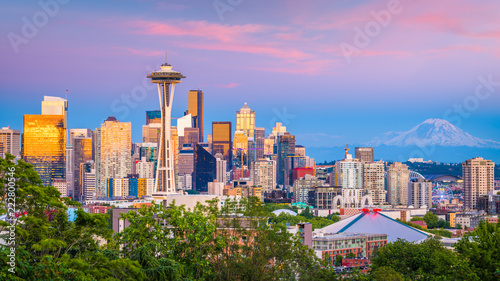 Fototapete Seattle, Washington, USA Skyline
