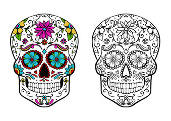 sugar skull coloring page, and an example of coloring