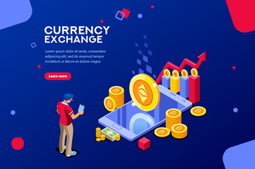 Ethereum cryptography or transaction code. Block chain infographic, trade page for exchange cryptocurrency. Concept with characters and text. Flat isometric images, blockchain vector illustration.