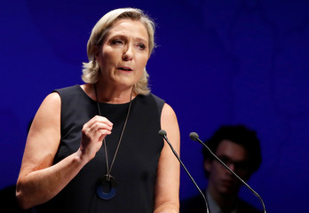 French far-right National Rally party leader Marine Le Pen delivers her comeback speech in Frejus