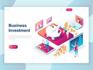 Modern flat design isometric concept of Business Investment for banner and website. Isometric landing page template. Analysis of sales, statistic growth data. Vector illustration.