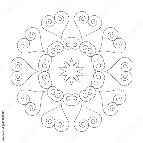 vector black and white circular round simple mandala with