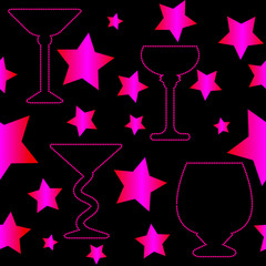 Cocktail glasses silhouettes seamless pattern with pink stars on black background