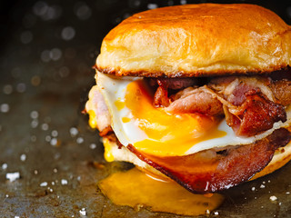Printed kitchen splashbacks Snack rustic bacon egg breakfast sandwich bun
