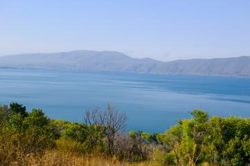 Panoramic view of Lake Sevan, Armenia