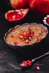 Turkish Dessert Ashura With Pomegranate, Noah's Pudding