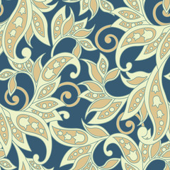 vintage flowers seamless pattern. Ethnic floral vector background