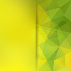 Geometric pattern, polygon triangles vector background in yellow and green tones. Blur background with glass. Illustration pattern