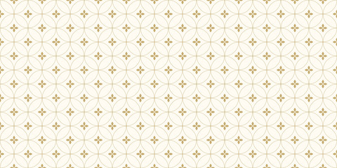 Background pattern seamless floral and circle line abstract gold color.