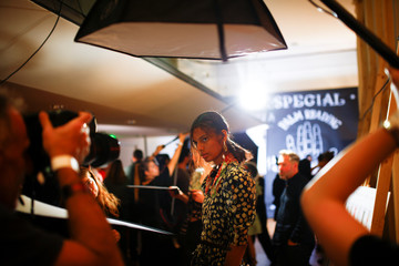 Models prepare backstage of the Preen by Thornton Bregazzi catwalk show at London Fashion Week Women's in London