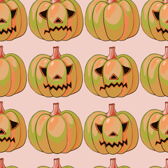 halloween background with different pumpkins, holiday pattern