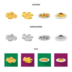 Isolated object of pasta and carbohydrate sign. Set of pasta and macaroni vector icon for stock.