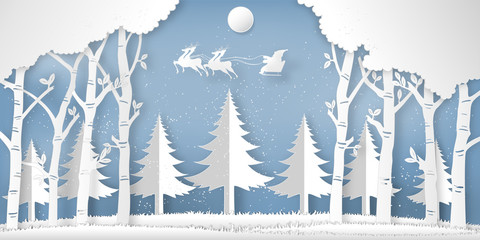 Santa Claus on the sky in the winter season with trees , forest and snow  as Paper art and digital craft style concept. vector illustration