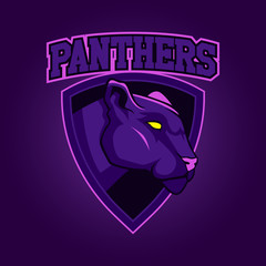 Modern professional logo for sport team. Panther mascot. Panthers, vector symbol on a dark background.