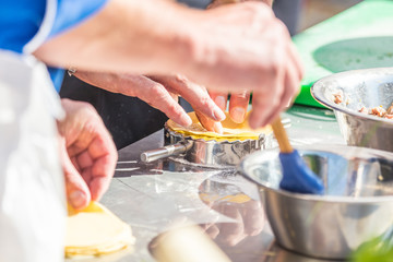 Cooking fresh ravioli, fresh pasta Italian Homemade. Boil in the boiling water
