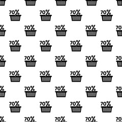 Basket seventy percent discount icon. Simple illustration of basket seventy percent discount vector icon for web