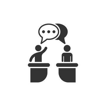 Politic debate icon in flat style. Presidential debates vector illustration on white isolated background. Businessman discussion business concept.