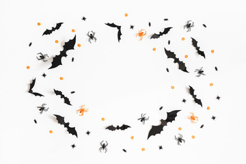 Halloween decorations on white background. Halloween concept. Flat lay, top view, copy space