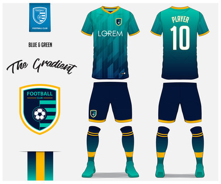 Soccer jersey or football kit template for football club. Blue and green gradient football shirt with sock and blue shorts mock up. Front and back view soccer uniform. Football logo design. Vector