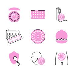 Obraz Birth control pills icon collection set. Pregnancy prevention illustration. - fototapety do salonu