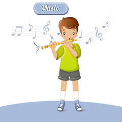 Boy play flute music concept background. Cartoon illustration of boy play flute music vector concept background for web design