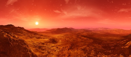 Poster Cuban Red Martian landscape. Panorama of Mars. Alien landscape.