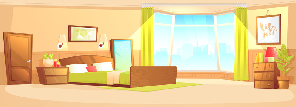 Bedroom interior modern flat with a bed, nightstand, wardrobe and window and plant. Vector cartoon illustration