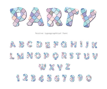 Party trendy font. Sequins textured letters and numbers. For birthday, fashion, T-shirt design.