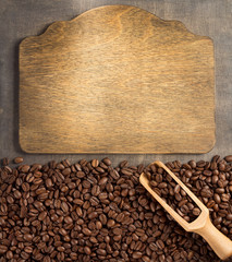 coffee beans and sign board
