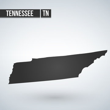 map of the U.S. state of Tennessee vector illustration