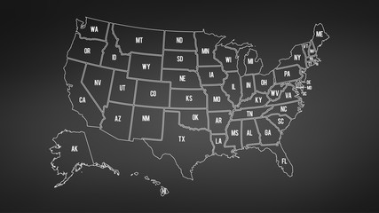 USA map with Alaska and Hawaii map separate states individual names blackboard chalkboard vector