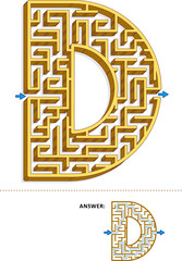 Learning alphabet activity - letter D three-dimensional maze. Use it as is or add fun cartoon characters. Answer included.