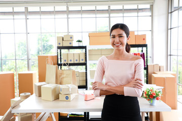 Woman with success the exporting business or online sales.