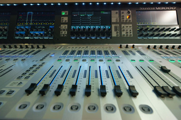 Macro image of the mixing desk
