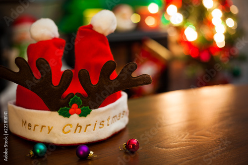 merry christmas and happy new year card with decorations add your own text