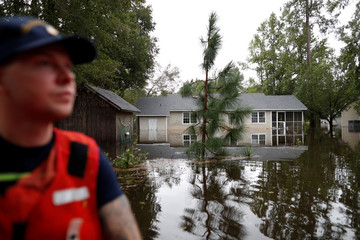 U.S. Coast Guard Petty Officer Don Tantanella patrols during Tropical Storm Florence in Lumberton