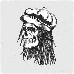 Rastaman skull. Black and white illustration. Isolated on light backgrond with grunge noise and frame.