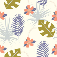 Seamless tropical pattern with wild flowers, herbs and leaves. Floral design with plants as texture, fabric, clothes. Vector illustration