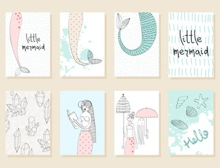 Vector hand drawn illustration of a mermaids. Collection of greeting cards.