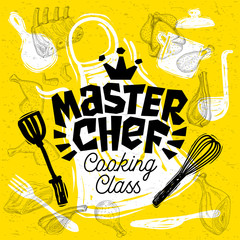 Sketch style master chef cooking class lettering. sign, logo, emblem. Pan, pot, knife, fork apron chicken meat ribs, steaks, wings. Hand drawn vector illustration