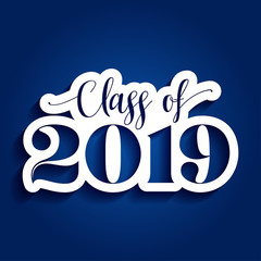 Class of 2019 Congratulations Graduate - Typography. white sticker and isolated dark blue background.