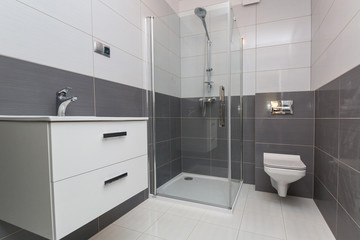 Bathroom interior with new tiles in the house.