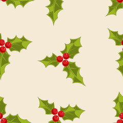 Holly Seamless Background. Great for wrapping paper and holiday decoration.