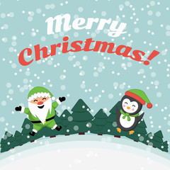 Santa Claus and  penguin. Holiday card. Merry Christmas! Winter landscape.