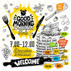 Good morning Breakfast time Pancakes Delicious crepes restaurant menu. Vector pancake food flyer cards for bar cafe. Design template, logo, emblem, sign, clock,