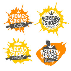Bread shop, bakery, bakehouse home baking lettering logo label emblem design. The best recipe, chef hat, crown, whisk. Hand drawn vector illustration.