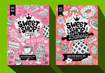 Modern cafe food poster menu template. Logo emblem sign lettering. Sweet shop cafe bakery. Coffee mug beans chef hat crown. Pen ink sketch style hand drawn vector illustration.