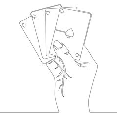 Continuous line Hand holding four aces cards