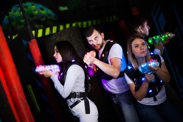Young people during lasertag game