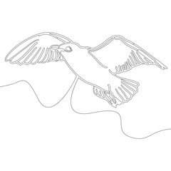 Continuous line drawing bird design style vector